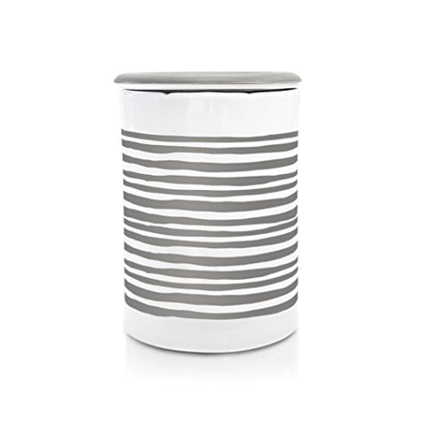 Happy Wax - Classic Wax Melt Warmer In Gray Stripe - Perfect Electric And Decorative Ceramic Wax Melter Or Warmer For Scented Wax Melts, Cubes &Amp; Tarts! (Melts Not Included)