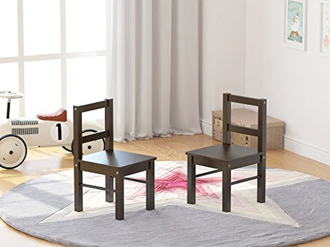Utex Child'S Wooden Chair Pair For Play Or Activity, Set Of 2, Espresso