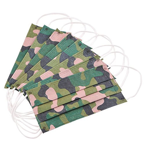 Topwel Green Camouflage Print Disposable Printed Earloop Dust Protective Face Mask (30)