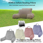 Homca Reading Pillow, Inflatable Backrest Pillow With Arms Great As Travel Camping Pillow For Lumbar Back Support, Gray