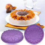 Flower Shape Silicone Cake Bread Pie Flan Tart Molds, Senhai Large Round Sunflower Chrysanthemum Rose Shape Non-Stick Baking Trays For Birthday Party Diy - Yellow,Red,Purple