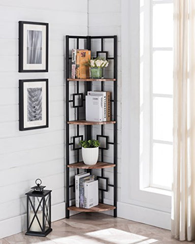 Reclaimed Weathered Oak Finish Black Metal Wall Corner 4-Tier Bookshelf Bookcase