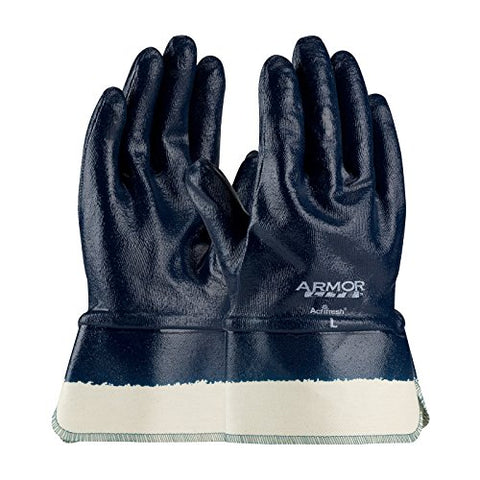 Armorlite 56-3176/Xl Nitrile Dipped Glove With Interlock Liner And Smooth Finish On Full Hand, Plasticized Safety Cuff