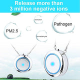 Woolala Personal Wearable Air Purifier Necklace/Mini Portable Air Freshner Ionizer/Negative Ion Generator/Odor Eliminator/Remove Smoke Dust/Low Noise For Adults Kids, Silver