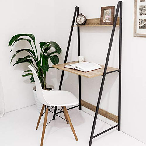 C-Hopetree Ladder Style Computer Desk A-Frame Student Study Laptop Home Office Writing Table Vintage Wood Look Industrial Metal Frame