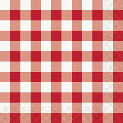 Unique Industries Summer Picnic Gingham Checkered 2-Ply 15.75  Dinner Napkins, Red White, 16 Ct