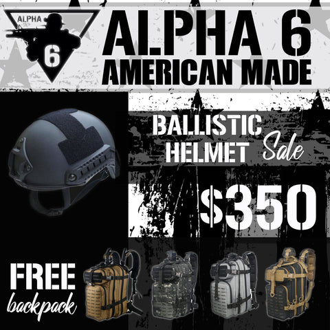 Ballistic Helmet Sale with Free Backpack!