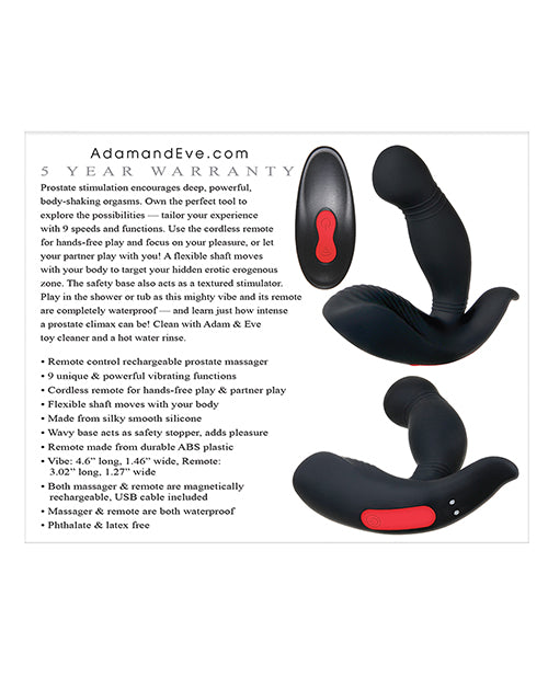 Adam & Eve Adam's Prostate Massager w/Remote - Black