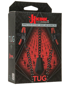 Kink Tug Nipple Clips w/Heavy Weight & Silicone Tips - Red