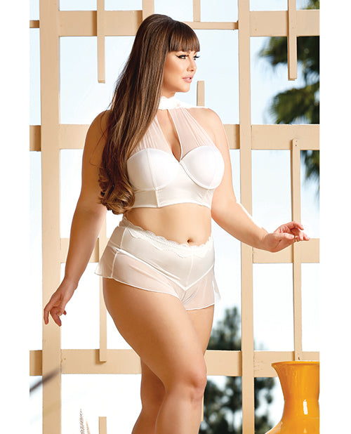 Premiere Embroidered Halter & Panty White  Small-3X