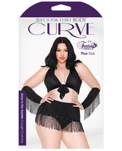 Load image into Gallery viewer, Curve Sassy in the Saddle Collared Top, Skirt, Cuffs, Skirt & Panty Black/White 1X/2X-3X/4X