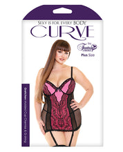 Load image into Gallery viewer, Curve Gretchen Lace & Mesh Chemise w/Molded Cups & G-String Neon Pink 1X/2X-3X/4X