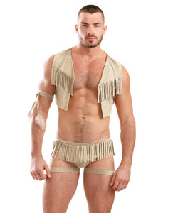 Mens Play On the Hunty Fringe Vest, Arm Band & Caged Underwear Beige