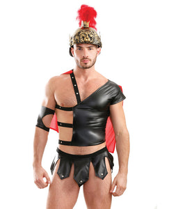 Mens Play Gluteus Maximus Trojan Harness Cape Top, Skirted Underwear & Arm Cuff Black