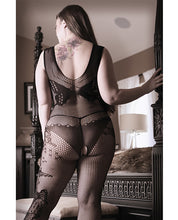Load image into Gallery viewer, Sheer Fantasy Dark Monarch Butterfly Knit Bodystocking w/Open Crotch Black QN
