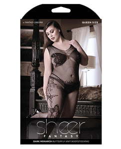Sheer Fantasy Dark Monarch Butterfly Knit Bodystocking w/Open Crotch Black QN