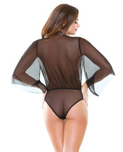 Load image into Gallery viewer, Tease Mesh Collared Bodysuit w/Tie Neck Black
