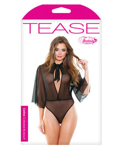 Tease Mesh Collared Bodysuit w/Tie Neck Black