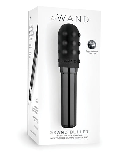 Le Wand Grand Chrome Bullet Rechargeable Vibrator w/Silicone Textured Ring - Black and Rose Gold
