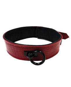 Rouge Plain Leather Collar - Burgundy & Red