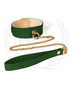 Spartacus Plush Lined PU Collar & Chained Leash - Green & Red