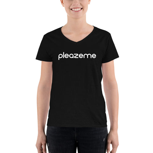 PleazeMe Black - Women's V-Neck Shirt