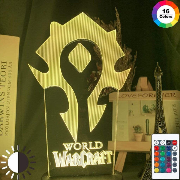 Lampe Warcraft Horde Lampe Led 3D veilleuse Décor
