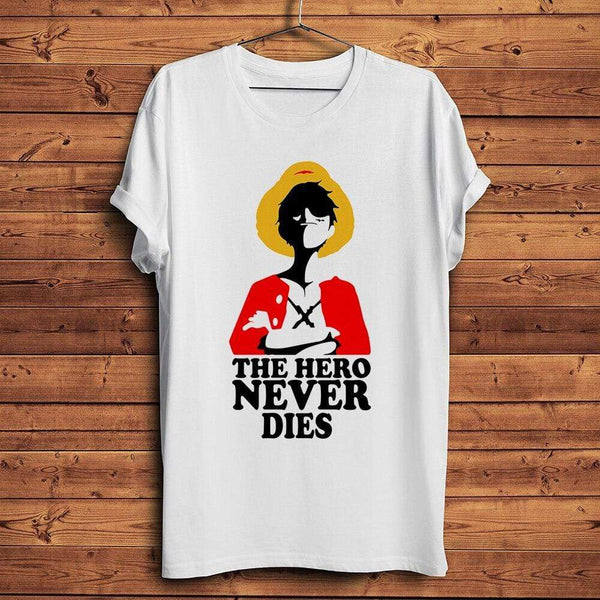 T-shirt one piece Hero never dies Luffy tshirt one piece unisex homme femme