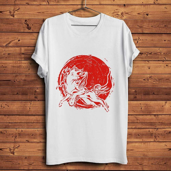 T-shirt one piece Red Sun Wolf of ONE PIECE tshirt manga unisex homme femme