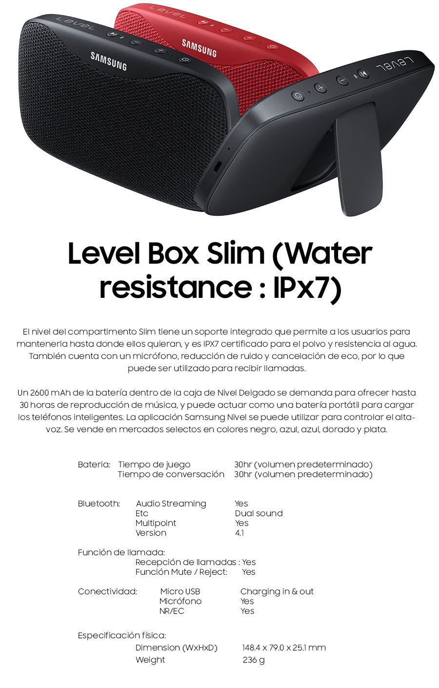 Bocina Level Box Slim Resistente Al Agua
