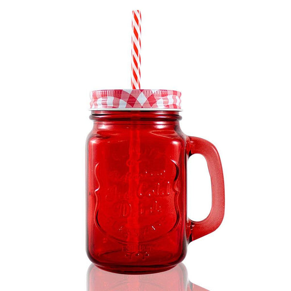 Frasco Ball Mason Jar Ice Cold 16oz con Asa Grabador Rojo