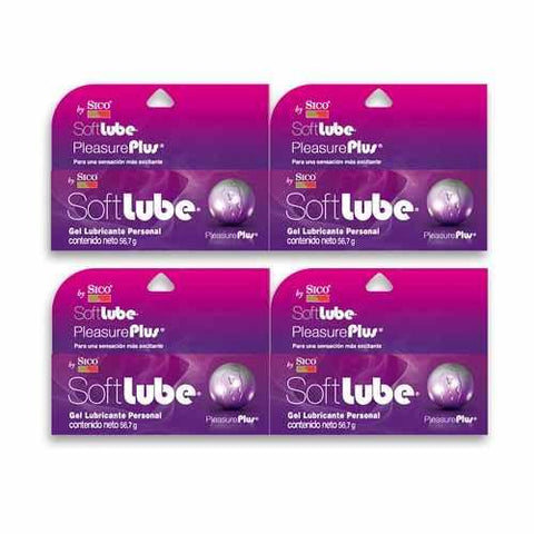 Pack 4 Pzas.lubricante Soft Lube Pleasure Plus Sico