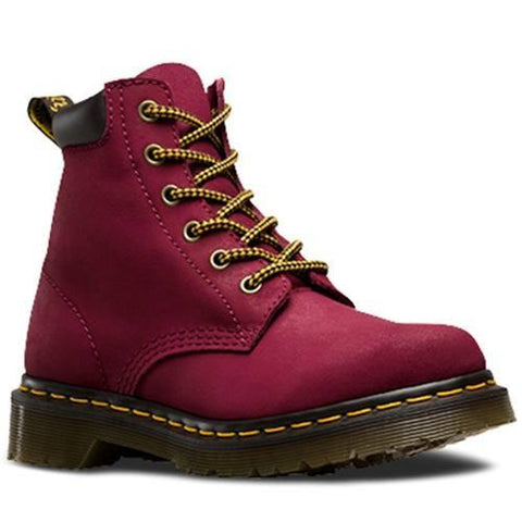 Bota Dama 939 Deep Red Greasy Suede Fiusha Mujer Dr Martens