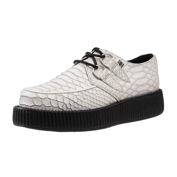Zapato Dama Dragon Embossed Low Sole Viva Creeper Blanco TUK
