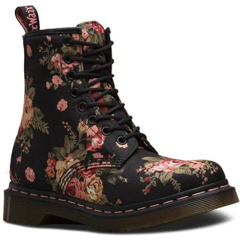 Bota Dama 1460W Black Victorian Flowers Mujer Dr Martens