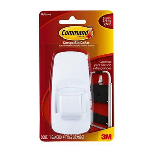 3m Command Gancho Sujetador Jumbo Color Blanco