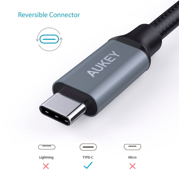 Cable 3-Pack USB 3.0 USB-C USB-A Durable 1 Metro Aukey