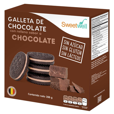 Galletas Chocolate Con Relleno Chocolate 288gr Sweetwell