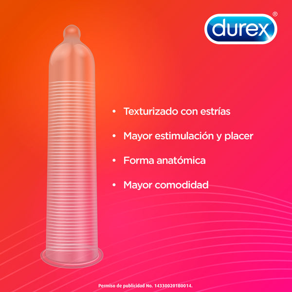 Cartera Con 3 Condones Ultrasensitivo Ribbed Durex