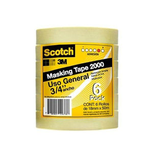 3m Scotch Masking Tape Uso General 3/4  X 50 M 6 Pack