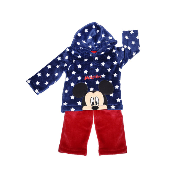 Conjunto m/l flanel estampado bordado Mickey BB Ideal