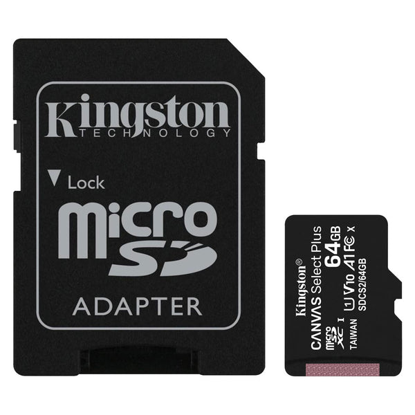 Micro SD Canvas Select Plus 100R A1 C10 64GB + ADP Kingston