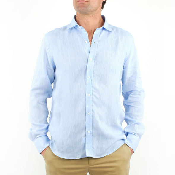 Long Sleeve Linen Shirt Sky Blue