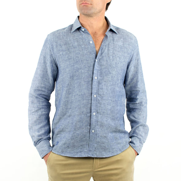 Long Sleeve Linen Shirt Denim