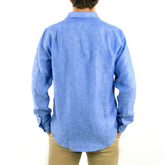 Long Sleeve Linen Shirt Deep Blue