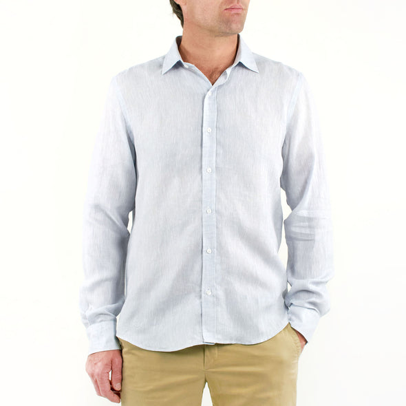 Long Sleeve Linen Shirt Grey