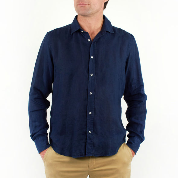 Long Sleeve Linen Shirt Navy Blue