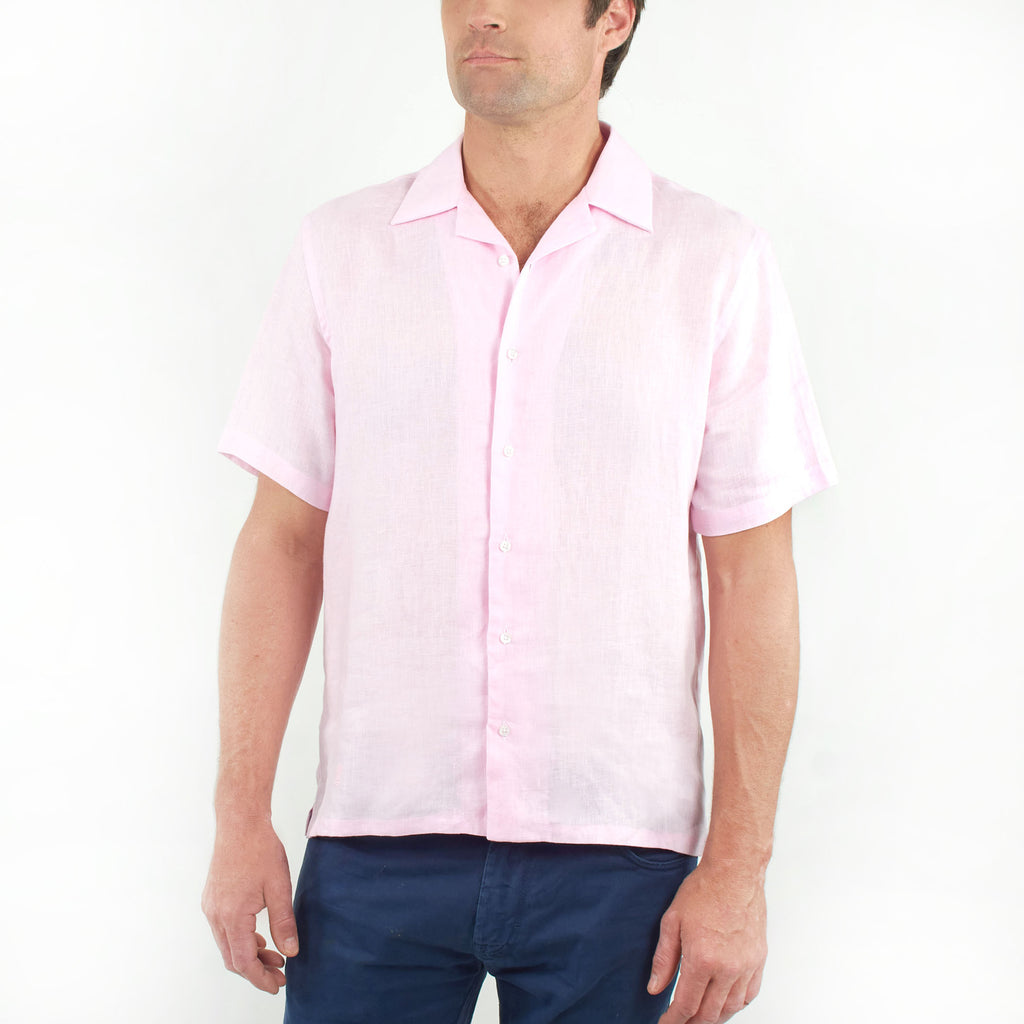 Short Sleeve Linen Shirt Pink