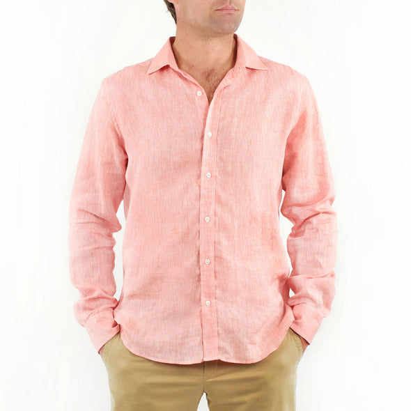 Long Sleeve Linen Shirt Coral