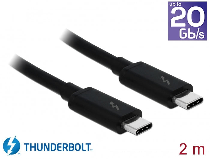 DeLock 84847 Thunderbolt3 kabel 2m 20Gbps 60W Power Delivery USB C till USB C 4K UHD video svart